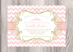 Little Princess baby shower invitation Pink Chevron baby shower invitation. Digital file. Printable Baby Girl  Invitation. by JCpartyprint on Etsy https://www.etsy.com/listing/202406517/little-princess-baby-shower-invitation