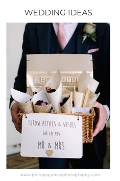 Throw petals and wishes for the new mr and mrs. confetti cones handed out in cute basket. image by Philippa James Photography Diy Confetti Cones, Confetti Basket, Wedding Confetti, My Perfect Wedding, Our Wedding, Wedding Summer, Wedding Ideas, Wedding Themes, Wedding Invitations