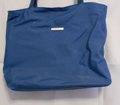 Medium Blue PVC Bag with Fabric Handles 2 Pockets Silver Bar on Front Medium #Unbranded #Satchel