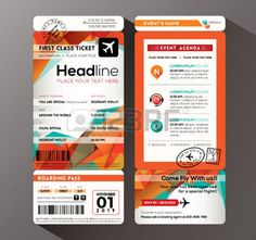Modern design Boarding Pass Ticket Event Invitation card vector Template photo