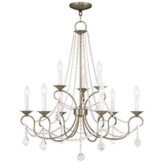 Livex Lighting Pennington Antique Brass Chandelier 6519-01