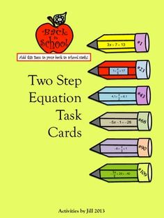 120 task cards will provide your students with lots of practice!  This is differentiation made easy!  These cards are separated into six categories with 20 equations in each. This will allow you and your students to focus on specific skills while using a variety of types of numbers (integers, fractions, decimals).  CCSS 7.EE CCSS 8.EE CCSS A-REI
