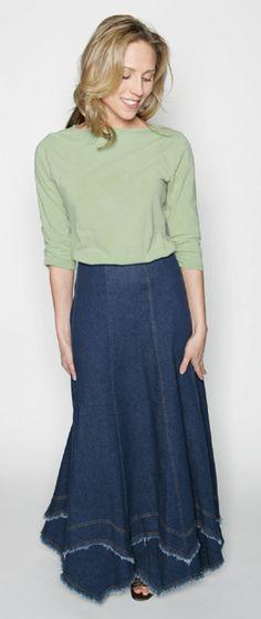 Long denim mountain skirt $44