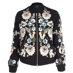 Needle and Thread Black Oriental Garden Embroidered Bomber Jacket ($355) ❤ liked on Polyvore featuring outerwear, jackets, blouson jacket, embroidery jackets, flight jacket, black zip jacket and zipper jacket