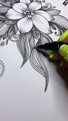 Flower Art Drawing, Flower Sketches, Mandala Drawing, Mandala Art, Pen Art, Marker Art, Cool Art Drawings, Art Drawings Sketches, Zentangle Drawings