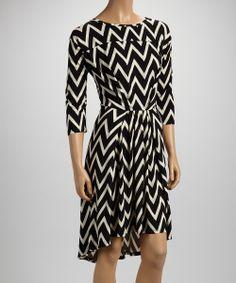 Black Zigzag Three-Quarter Sleeve Dress | something special every day