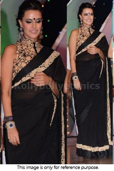 Bollywood Actress Neha Sharma Georgette Saree in Black color