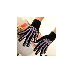 Skeleton-Print Gloves ($9.81) ❤ liked on Polyvore featuring accessories, gloves, women and skeleton gloves