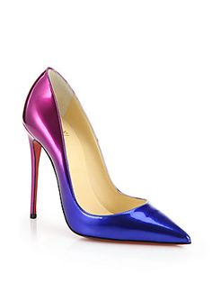 Christian Louboutin So Kate Ombré Blue to Pink Patent Leather Pointed Toe High Heels