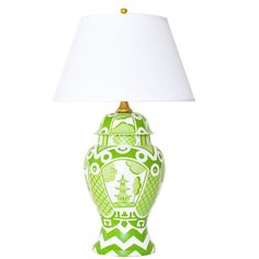 """This Hand Painted Ginger Jar Lamp is the perfect accent to your bedroom, living room or office. Hand Painted Tole Lamp White Linen Shade 18"""" 30"""""""