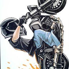 Badass Motorcycle Artwork by Scaronistefano Motogp, Biker Tattoos, Motorcycle Tattoos, Dope Cartoons, Dope Cartoon Art, Cobra Kai Wallpaper, Skull Wallpaper, Scooter Motorcycle, Motorcycle Style
