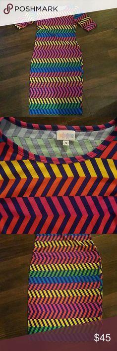 🚨SALE🚨 Lularoe Julia dress multi-colored zig zag Soft as a tee shirt and eye catching! LuLaRoe Dresses