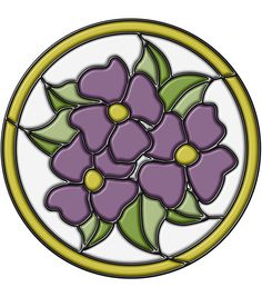 Stained Glass Pansy Medallion Purple 9