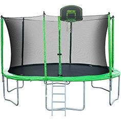 Merax Kids Trampoline with Safety Enclosure Net, Basketball Hoop and Ladder - BV Certificated – Basketball Trampoline 14ft Trampoline, Toddler Trampoline, Trampoline Park, Fitness Trampoline, Trampoline Safety, Basketball Court Flooring, Basketball Hoop, Trampoline Reviews, Trampolines For Sale