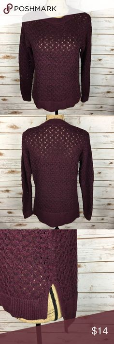 LOFT Sz Small Burgundy Open Knit Sweater Pre-owned ANN TAYLOR LOFT Women's Size Small Burgundy Open Knit Long Sleeve Sweater  *Bust is 19.5 inches laying flat. *Length is 22.5 inches in the front and 26 inches in the back from shoulder to bottom hem.  Please feel free to check out the other items in my closet! LOFT Sweaters Crew & Scoop Necks