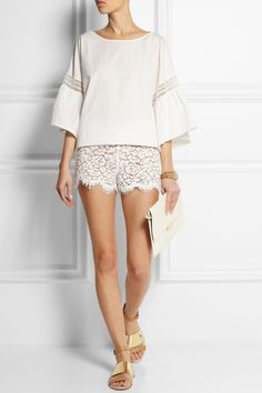 PHILOSOPHY | Embroidered  cotton top | Michael Kors | Cotton-blend lace shorts | See by Chloe | Embellished leather and  canvas sandals | Stella McCartney | Faux leather clutch