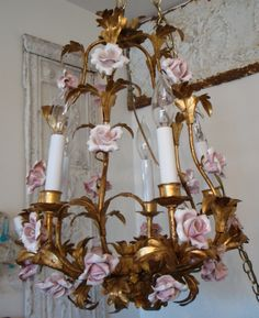 Italian Tole Gilt Antique Pink Porcelain Roses Chandelier  www.parispanacheantiques.com