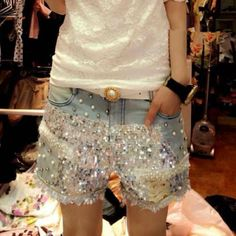 Stylish Sequined Pocket Design Denim Shorts For Women
