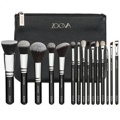 Complete Set Exclusive selection of 15 bestseller brushes for face and eyes made of both, natural and synthetic bristles  Including ZOEVA Brush Clutch Large