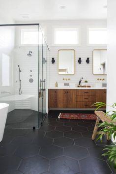 Bathroom decor for your bathroom remodel. Discover bathroom organization, bathroom decor ideas, bathroom tile ideas, bathroom paint colors, and more. Mid Century Modern Bathroom, Modern Bathroom Design, Bathroom Interior Design, Minimal Bathroom, Mid Century Bathroom Vanity, Bathroom Tile Designs, Bad Inspiration, Bathroom Inspiration, Bathroom Renos