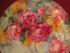 Painted roses by Rosemarie Radmaker.