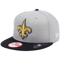 New Era New Orleans Saints Heather 2-Tone 9FIFTY Snapback Cap ($32) ❤ liked on Polyvore featuring men's fashion, men's accessories, men's hats, mens snapback hats and mens caps and hats