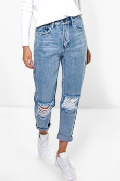 Click here to find out about the Light Blue Open Knee Boyfriend Jeans from  Boohoo cc8bab2e5d23