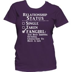 Relationship Status Fangirl Ladies T Shirt Fandom Funny Tee ($23) ❤ liked on Polyvore featuring tops, t-shirts, shirts, black, women's clothing, short sleeve tees, graphic tees, print shirts, short sleeve t shirts and checkered shirt