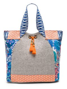 orange and navy patterned beach bag