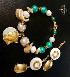 Набор украшений - браслет и серьги, перламутр, жемчуг Майорка, фурнитура люкс инкрустация, подвески позолота