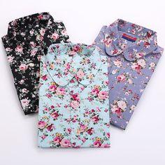 Vintage Kadınlar Gömlek Uzun Kollu Pamuk Bluz Turn Down Yaka Çiçek Gömlek Blusas Femininas Moda Kadın Gömlek Tops