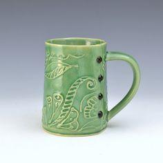 Big Coffee Mug Paisley Pattern, by Charan Sachar at Creativewithclay