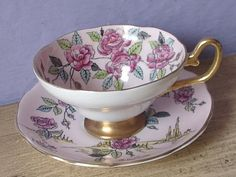 Antique Hand painted pink roses teacup and saucer by ShoponSherman