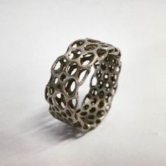 Something we liked from Instagram! 3D printed ring from steel. More pictures of parts we printed today coming soon. #metal3d #metal3dprinting #czechmade #3dprinting #bottleopener #steelprinting #metalprinting #design #stainless #steelpowder #metalpowder #dmls #renishaw #selectivelasersintering #additivemanufacturing #3dprint #3dprinter #3dprinted #3dtisk #3dtiskarna #tisknemekov #ocel #ring #voronoi #3d #art #jewelry #jewellery #sperky #prsten by metal_3d check us out: http://bit.ly/1KyLetq