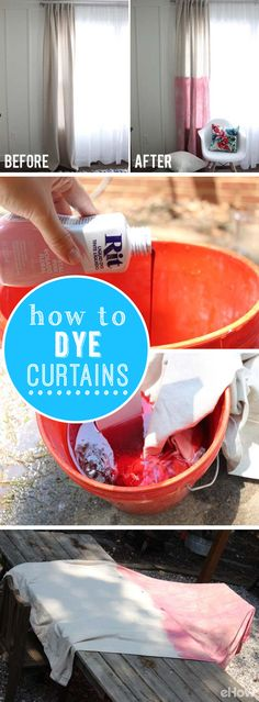 Dye your curtains for an easy update or remodeled look to your home and costs you almost nothing. Grab the full directions on how to dye them the right way here: http://www.ehow.com/how_5519191_dye-curtains.html?utm_source=pinterest.com&utm_medium=referral&utm_content=freestyle&utm_campaign=fanpage