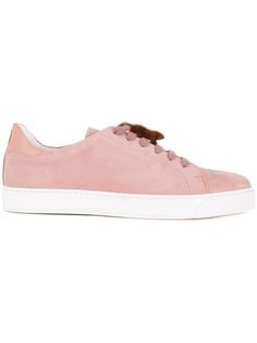 Anya Hindmarch - Yes tag lace-up sneakers - women - Nubuck Leather - 36, Pink/Purple