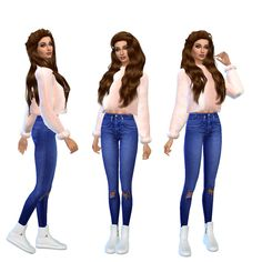 Simbly Happy - Sims 4 lookbook #5  Clothes sweater// jeans//...