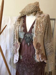 ddca11cab123d Boho knit cardigan repurposed crochet gypsy lace by RAWRAGSbyPK
