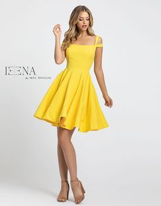 Ieena Duggal - Cold Shoulder Fit and Flare Cocktail Dress Yellow Formal Dress, Yellow Homecoming Dresses, Yellow Bridesmaid Dresses, Hoco Dresses, Blush Dresses, Ball Dresses, Pretty Dresses, Yellow Cocktail Dresses, Yellow Dress Outfits