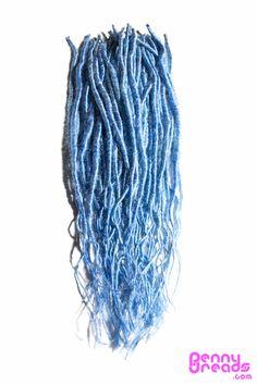 "Sky Blue 24"" U-Tip Synthetic Dreadlocks (10 pieces) - 100% Kanekalon. – Penny Dreads & Wigs"