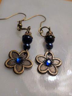 Sweet Blue Bronze Earing for Christmas or by SzaszilkaTreasury