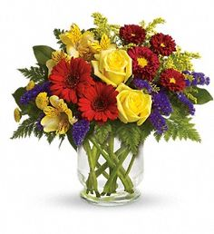 Garden Parade- You'll want to put this colorful bouquet on your hit parade of gifts to send. Bold primary colors and a perfect mix of flowers make it great for men and women of all ages. In other words, it's a perfect arrangement.