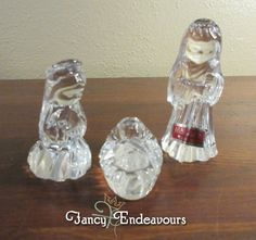 Waterford Marquis Crystal Nativity Figurines The Holy Family Jesus Mary Joseph #WaterfordMarquis