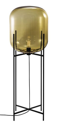 Floor lamp - Oda Big by Sebastian Herkner for pulpo - Materials & colors : amber glass & black powder coated steel