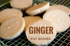 Fat Bombs Ginger Fat Bombs are the most delicious of all the fat bombs I have tried. Full of beautiful and healthy coconut oil and delicious ginger to keep hunger at bay and those carbs away. For more low carb, grain free recipes, see Fudge, Desserts Keto, Dessert Recipes, Low Carb Recipes, Real Food Recipes, Free Recipes, Simple Recipes, Delicious Recipes, Coconut Fat Bombs