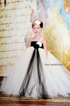 Ivory and Black wedding flower girl dress by YourSparkleBox, $94.95
