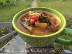 Cabbage & Kale Soup | © Life Through the Kitchen Window Kale Recipes, Soup Recipes, Kale Soup, Soups And Stews, Cantaloupe, Cabbage, Vegan, Dinner, Fruit