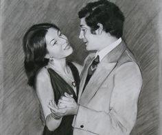 Charcoal Portrait of a Couple.  Artist: Charlotte Partridge