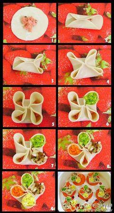 Food and Cuisine: Four Food Bread Roll Wan Tan, Chinese Dumplings, Steamed Dumplings, Bread Art, Good Food, Yummy Food, Food Decoration, Ravioli, Asian Cooking