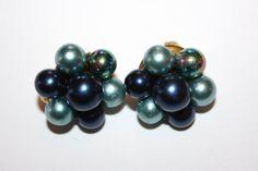 Vintage Earrings Aqua Blue Pearl Cluster 1950s Jewelry by patwatty, $3.00